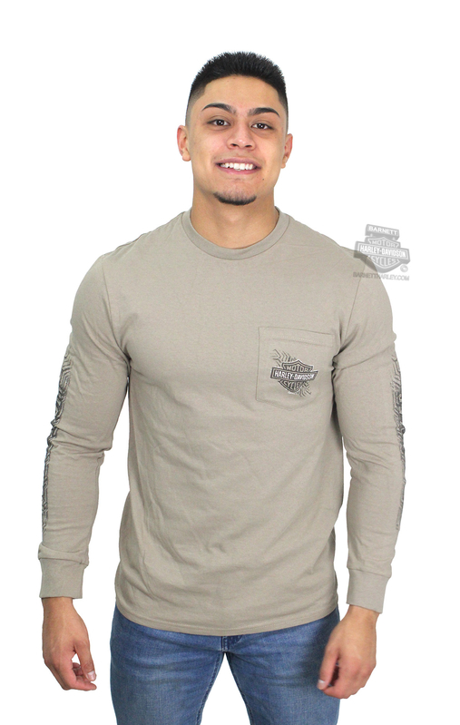 Harley-Davidson® Mens Pave Your Own Way B&S Pocket Sand Long Sleeve T-Shirt