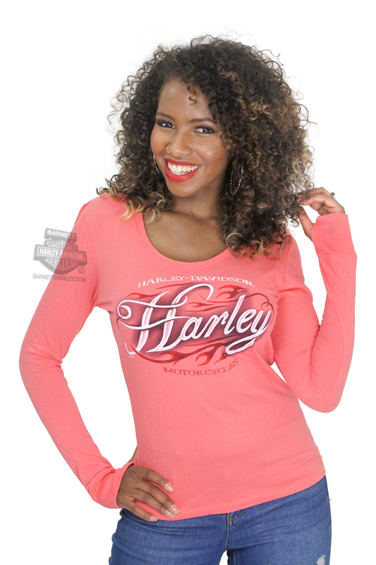 ** SMALL SIZES ONLY ** Harley-Davidson® Womens Fast Freak Flames Pink Long Sleeve T-Shirt