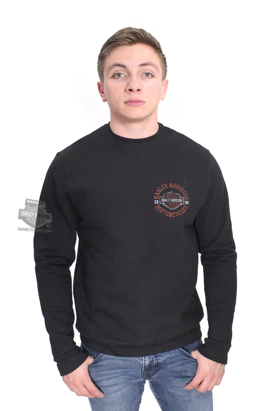 ** BIG SIZES ONLY ** Harley-Davidson® Mens Strange Gear B&S Heavyweight Pullover Black Long Sleeve Sweatshirt