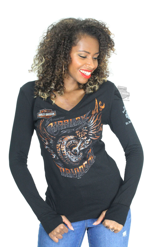 ** SIZE X-SMALL ONLY ** Harley-Davidson® Womens Brilliant Design Flaming Wheel Foil Print Black Long Sleeve T-Shirt
