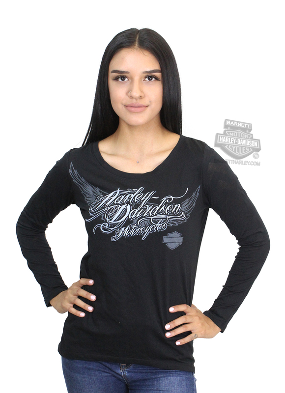 10832a7c917 Harley-Davidson® Womens Burnout Sleeves Dreaming Big Wings Black Long  Sleeve T-Shirt