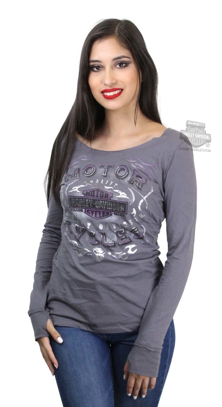 ** SMALL SIZES ONLY ** Harley-Davidson® Womens Rebel Cruiser Trademark B&S Foil Print Grey Long Sleeve T-Shirt