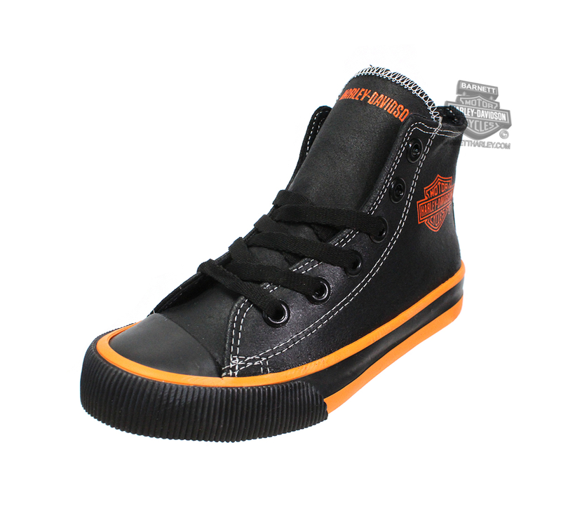 ** SIZE 11 & 13 ONLY ** Harley-Davidson® Boys Youth Patch Hi-Top Black Casual Shoe