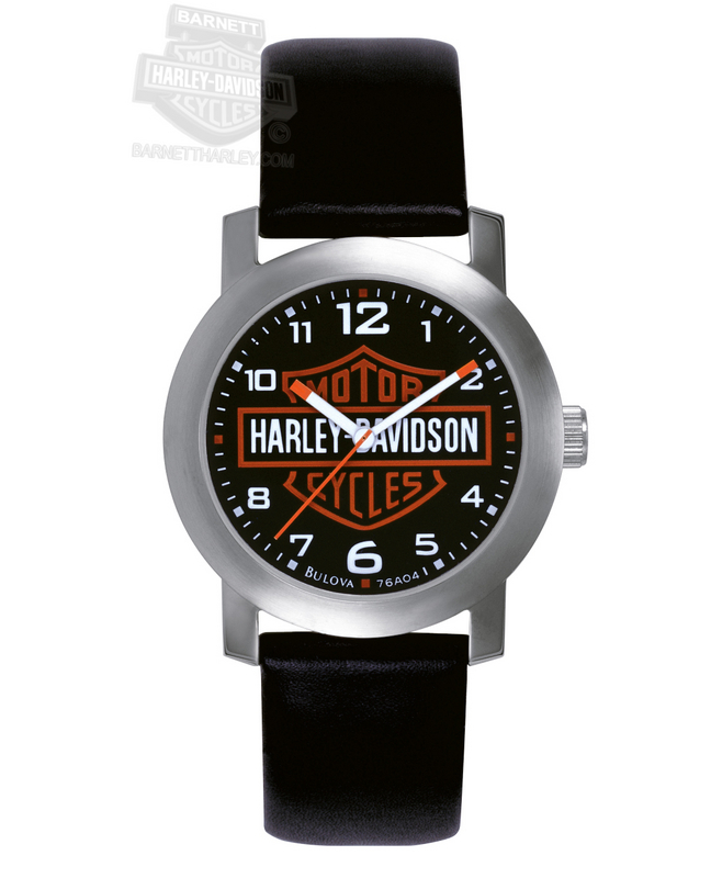 Harley-Davidson® B&S Black Leather Strap Watch By Bulova®