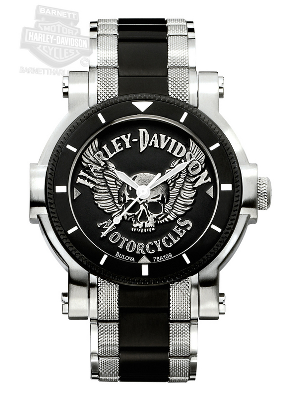 Harley-Davidson® Black Medallion Dial Skull Watch By Bulova®