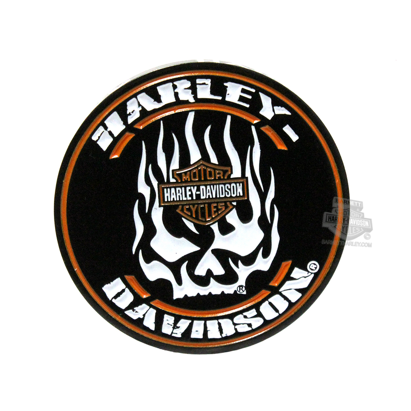 Harley-Davidson® Mens Flaming Willie G Skull with B&S 1.75