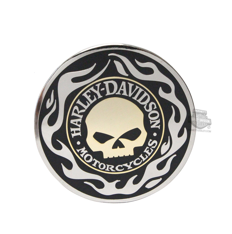 Harley-Davidson® Mens Golden Willie G Skull with Flames 1.75