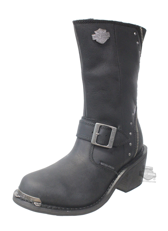 Harley-Davidson® Womens Rosanne Waterproof Black Leather Mid Cut Boot - H-D® Dealer Exclusive