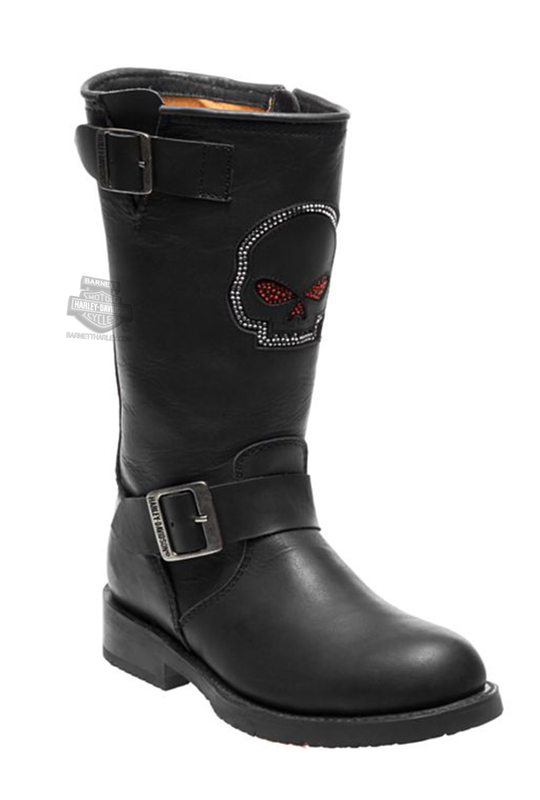 ** SMALL & BIG SIZES ONLY ** Harley-Davidson® Womens Staunton Willie G Skull Black Leather High Cut Riding Boot - H-D® Dealer Ex