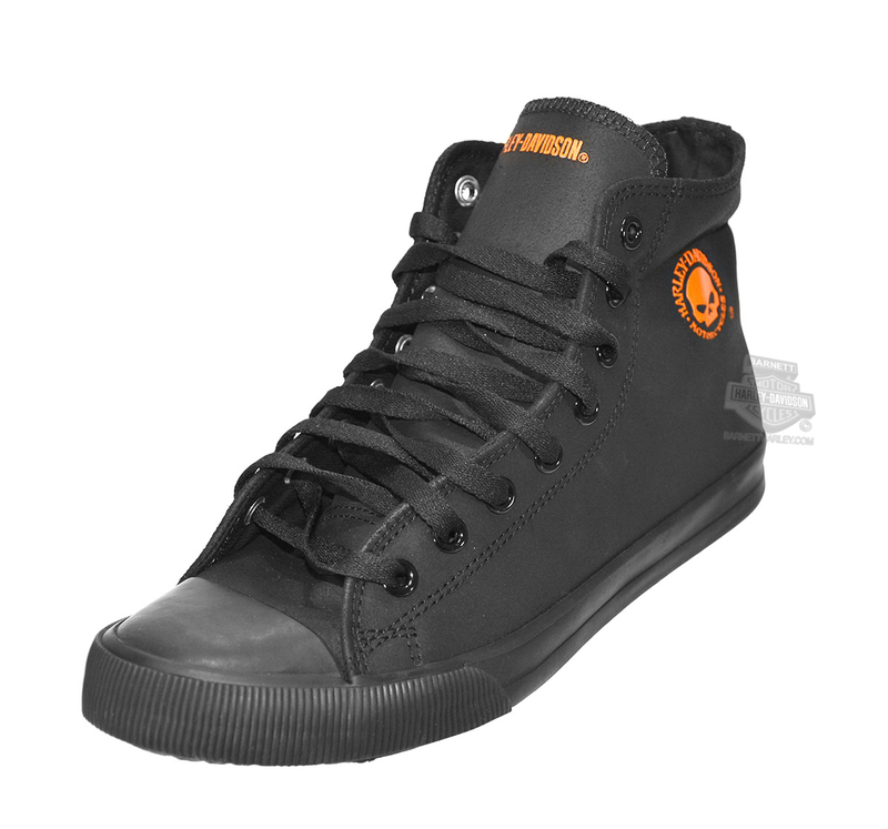 f696202fa8b4 Harley-Davidson® Mens Baxter with Orange Willie G Skull Black Leather  Casual Shoe