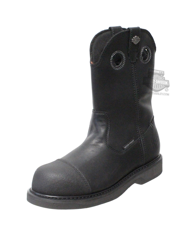 ** 8.5 & 9 ONLY ** Harley-Davidson® Mens Manton Waterproof Tech-Tuff® Black Leather High Cut Boot - H-D® Dealer Exclusive