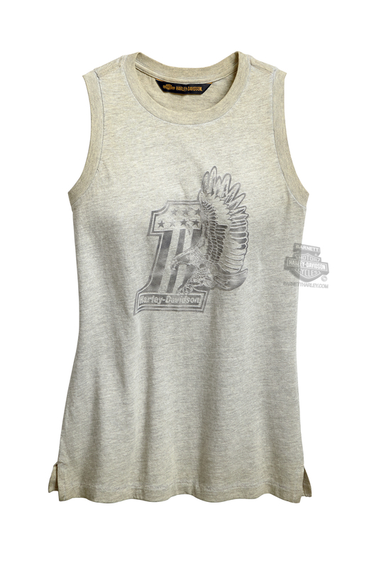 21f07e8d52c912 Harley-Davidson® Womens  1 Eagle Pigment Dyed Khaki Sleeveless Muscle T- Shirt