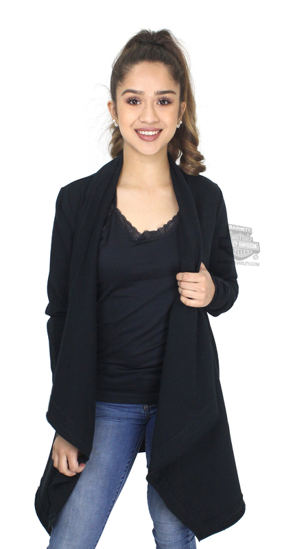 ** SMALL SIZES ONLY ** Harley-Davidson® Womens Slim Fit Waterfall Raw Edge Enzyme Wash Cardigan Black Long Sleeve Sweater