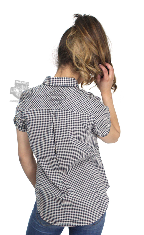 ** SMALL SIZES ONLY ** Harley-Davidson® Womens Gingham Allover Wash Plaid Short Sleeve Woven Shirt