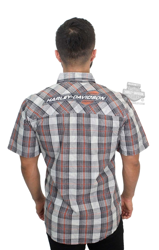 Harley-Davidson® Mens Acid and Crinkle Washed Plaid Short Sleeve Woven Shirt