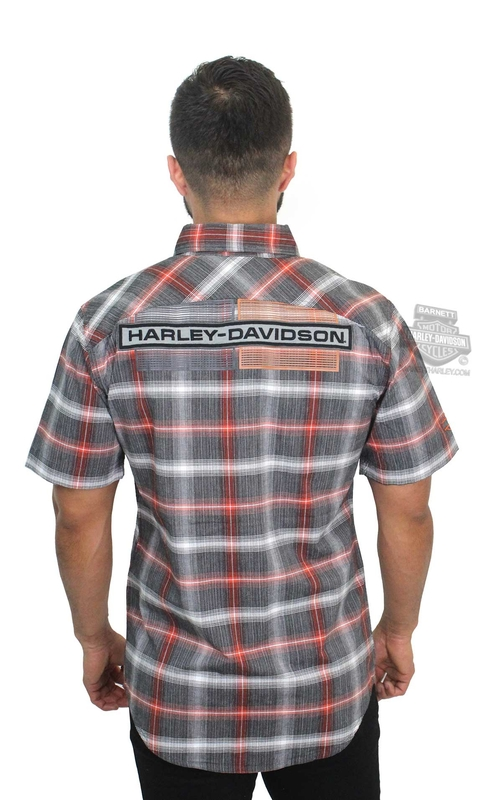 Harley-Davidson® Mens High Density Graphic with Embroidered Applique Plaid Short Sleeve Woven Shirt