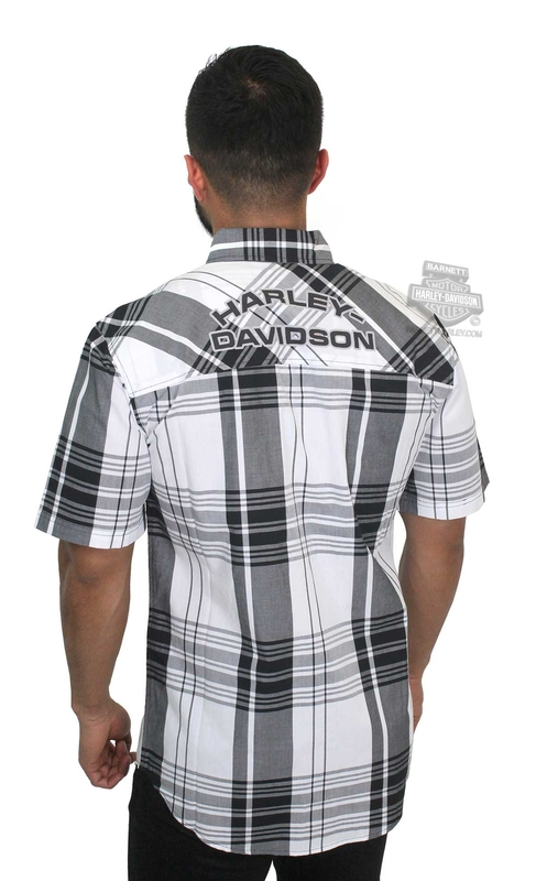 ** SIZES SMALL & LARGE ONLY ** Harley-Davidson® Mens High Density Print Logo Plaid Short Sleeve Woven Shirt
