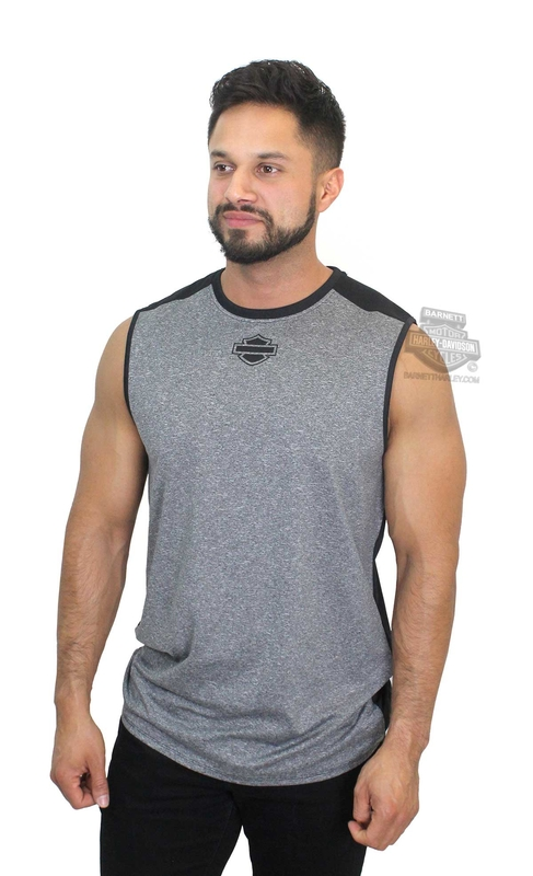 Harley-Davidson® Mens Colorblock B&S Graphic Grey Sleeveless Muscle T-Shirt
