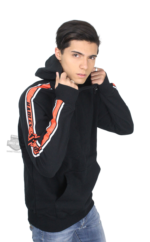 ** SIZE X-LARGE ONLY ** Harley-Davidson® Mens Sleeve Stripe with B&S Pullover Black Long Sleeve Hoodie