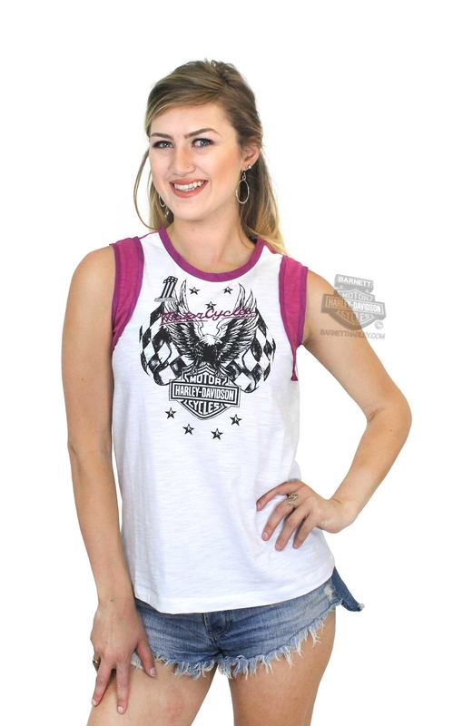 Harley-Davidson® Womens Checkered Flag Eagle B&S White Sleeveless Muscle T-Shirt