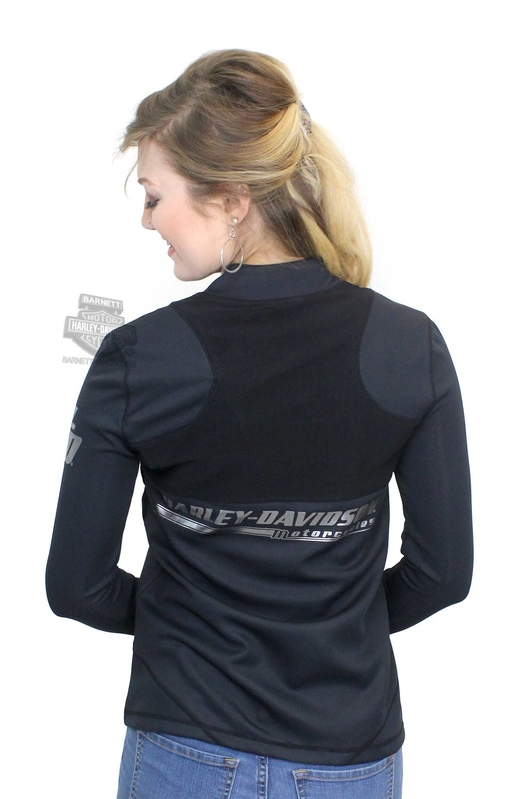 ** SMALL SIZES ONLY ** Harley-Davidson® Womens Mesh Overlay Zipper Front Black Activewear Jacket