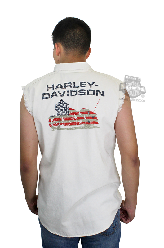 Harley-Davidson® Mens Americana Flag Motorcycle White Sleeveless Blowout