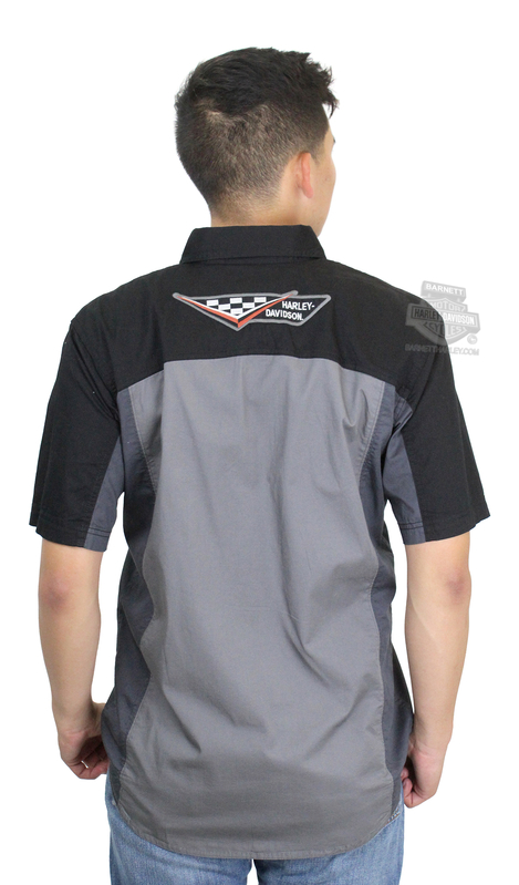 Harley-Davidson® Mens #1 Logo Colorblock Grey Short Sleeve Woven Shirt