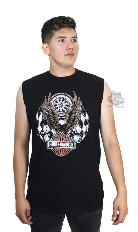 Harley-Davidson® Mens Checkered Flag Eagle with B&S Black Sleeveless Muscle T-Shirt