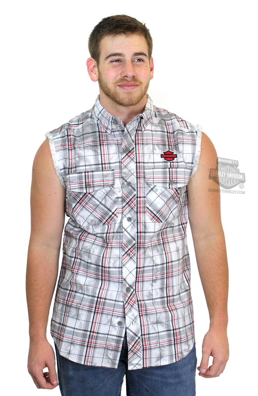 Harley-Davidson® Mens B&S Logo Tea Stain Plaid Sleeveless Blowout