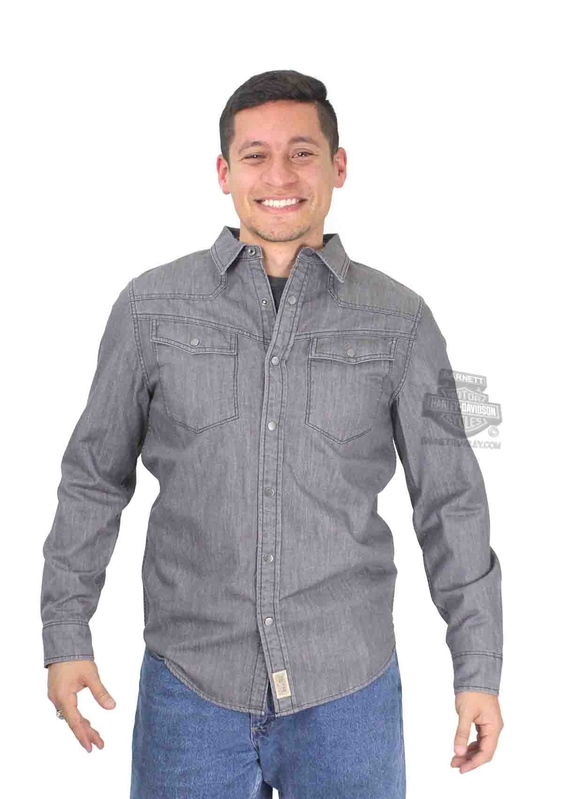 ** SMALL & BIG SIZES ONLY ** Harley-Davidson® Mens Slim Fit Enzyme Wash with Contrast Stitching Grey Long Sleeve Woven Shirt