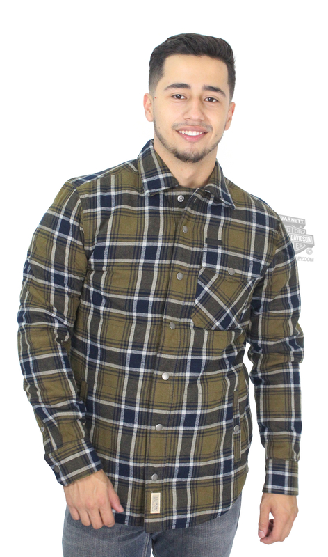 Harley-Davidson® Mens Slim Fit Quilted Poly Fill Plaid Long Sleeve Shirt Jacket