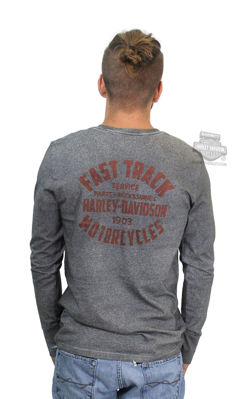 Harley-Davidson® Mens Fast Track Laser Cut Slim Fit Grey Long Sleeve T-Shirt