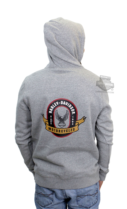 Harley-Davidson® Mens Eagle Crest Slim Fit Pullover Grey Long Sleeve Hoodie