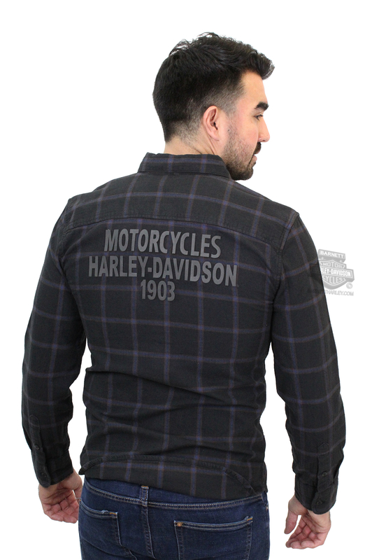 ** SIZE MEDIUM ONLY ** Harley-Davidson® Mens High Density Graphics Slim Fit Plaid Long Sleeve Woven Shirt