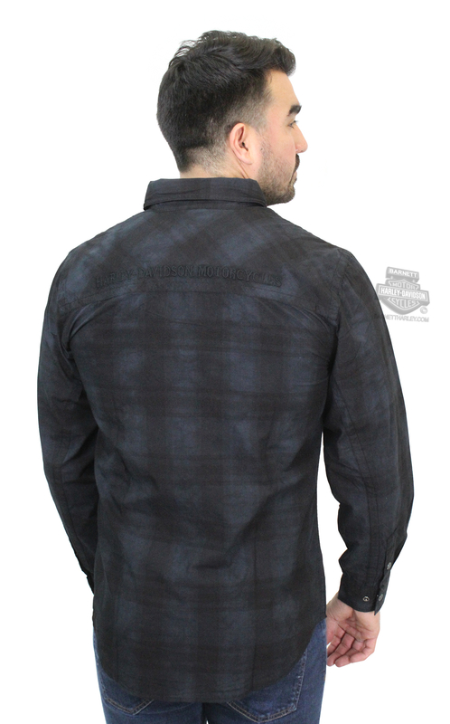 ** SMALL SIZES ONLY ** Harley-Davidson® Mens Specialty Wash Embroidered Graphics Plaid Long Sleeve Woven Shirt