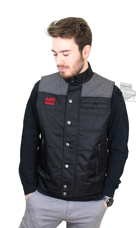 ** MEDIUM & XL ONLY ** Harley-Davidson® Mens Ripstop Accent Quilted Black Vest