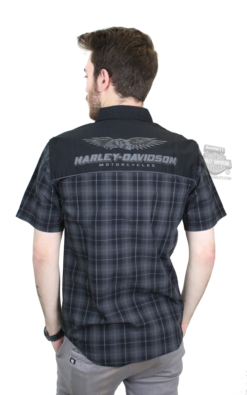 Harley-Davidson® Mens Eagle Graphic with B&S Contrast Yoke Plaid Short Sleeve Woven Shirt