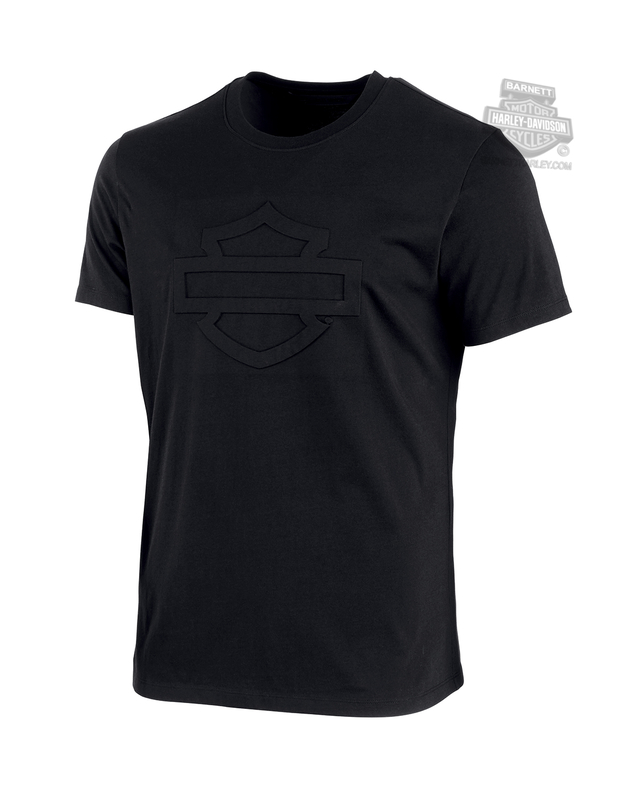 Harley-Davidson® Mens Embossed B&S Logo Slim Fit Black Short Sleeve T-Shirt