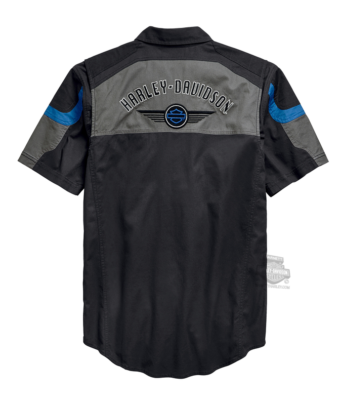 Harley-Davidson® Mens Performance B&S Logo Black Short Sleeve Woven Shirt