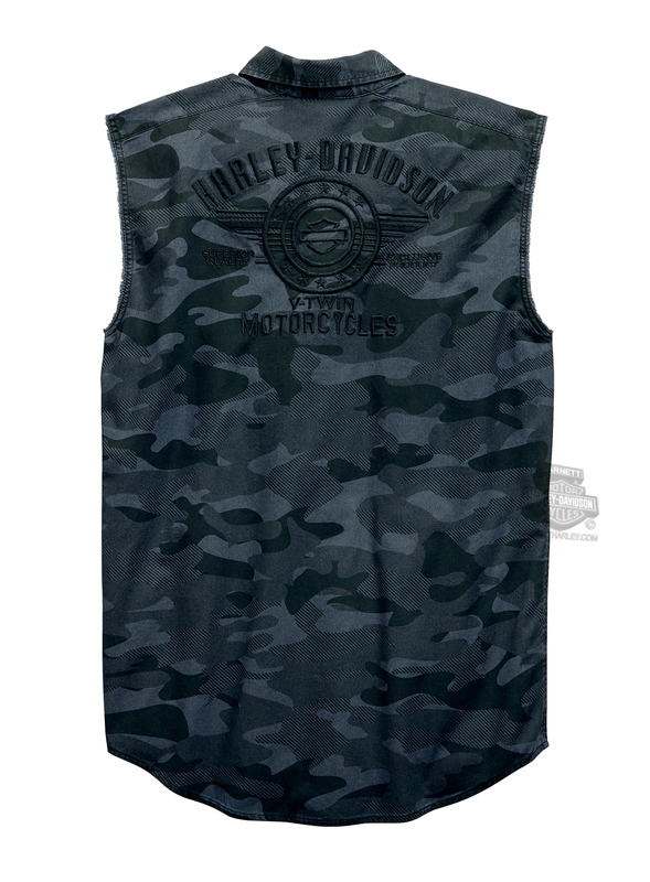 Harley-Davidson® Mens Camo Print B&S Camouflage Sleeveless Blowout