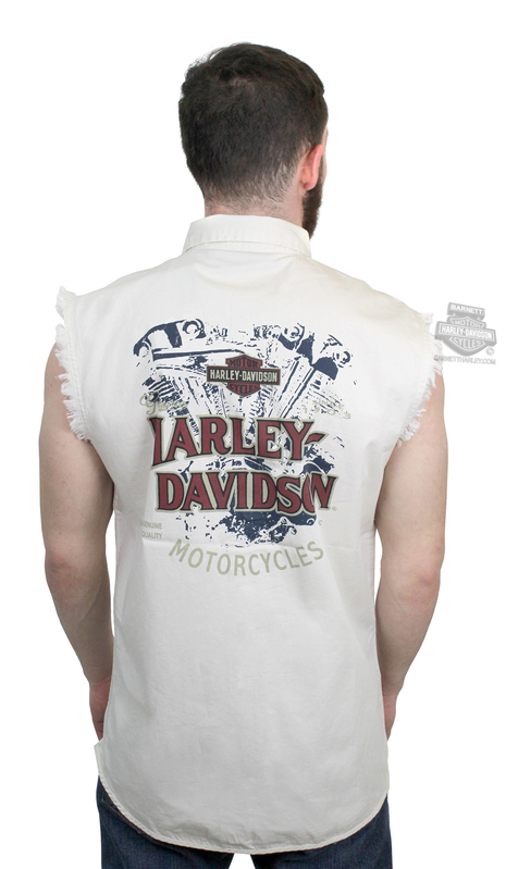 Harley-Davidson® Mens Engine Print Trademark B&S Off White Sleeveless Blowout