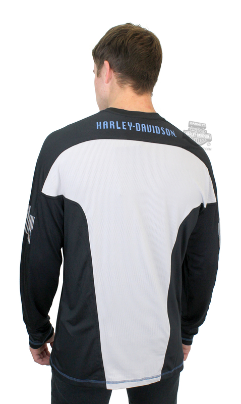 625a31124762 Harley-Davidson® Mens Performance Colorblocked B&S Logo White Long Sleeve T- Shirt