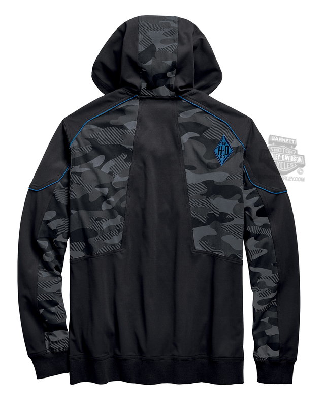 Harley-Davidson® Mens Camo Print Full Zip Black Long Sleeve Hoodie