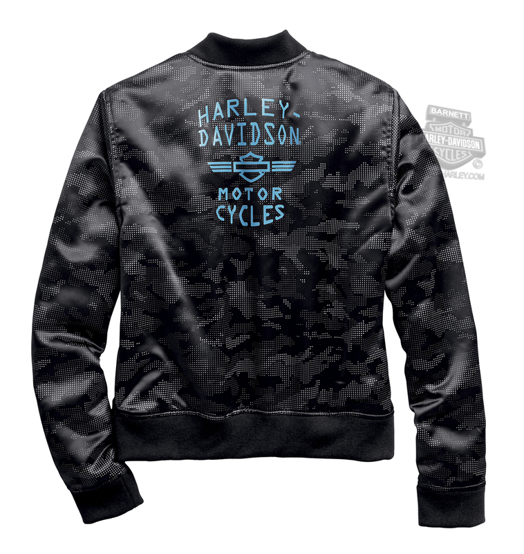 Harley-Davidson® Womens Allover Camo Sateen Black Casual Jacket