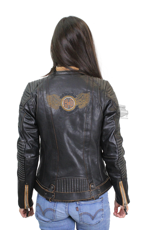60e0f75420f29 Harley-Davidson® Womens Maize Winged H-D Thinsulate™ Insulation Black Leather  Jacket
