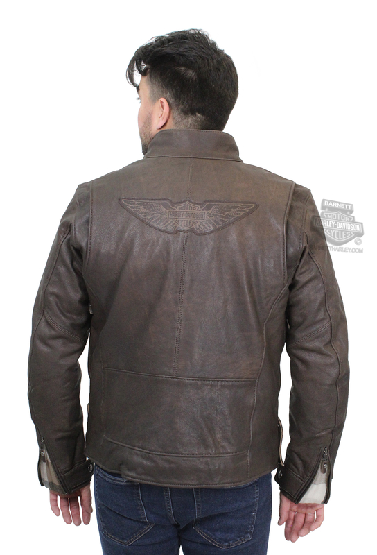 Harley-Davidson® Mens Lawlen Winged B&S Distressed Brown Leather Jacket