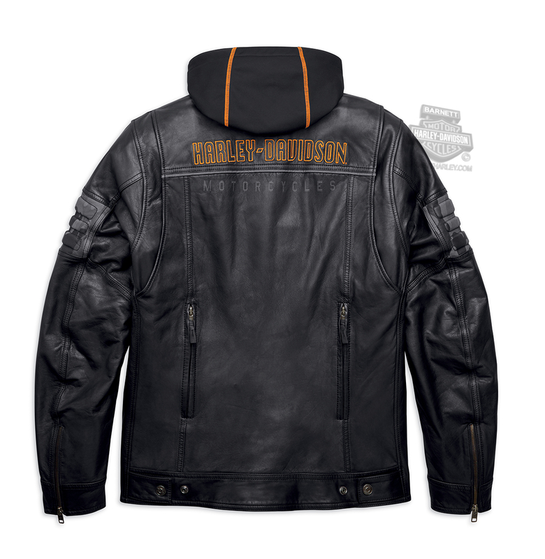 Harley-Davidson® Mens Bridgeport H-D 3-In-1 Reflective Black Leather Jacket