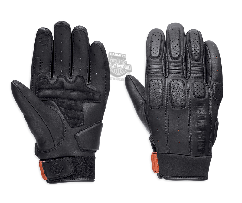 ** SIZE 2X ONLY ** Harley-Davidson® Mens Geyser Perforated Touchscreen Compatible Black Leather Full Finger