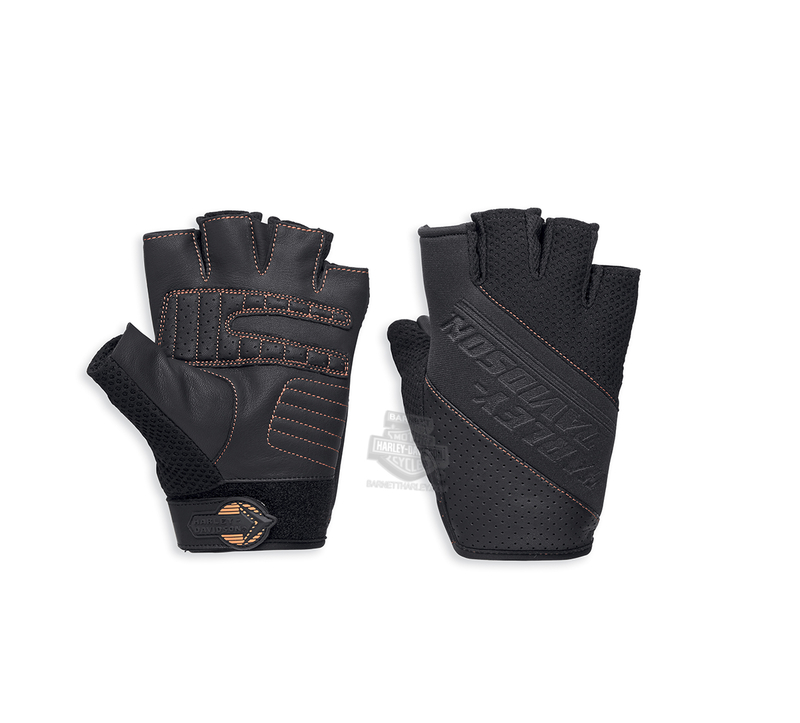 Harley-Davidson® Mens Aldridge Mesh with COOLCORE™ Technology Black Leather Fingerless