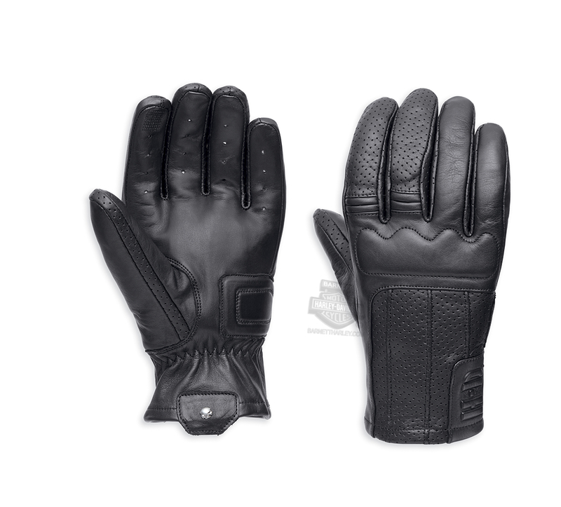 ** BIG SIZES ONLY ** Harley-Davidson® Mens Newdale Perforated Touchscreen Compatible Black Leather Full Finger